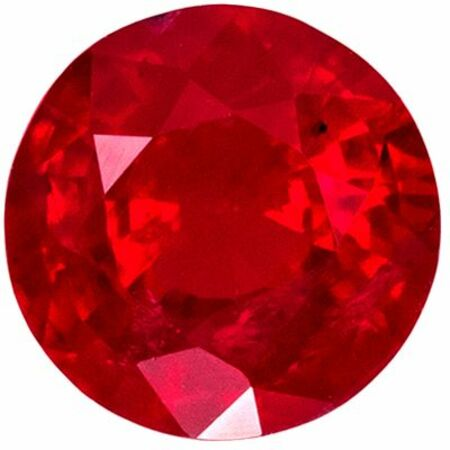 Beautiful Ruby Genuine Loose Gemstone in Round Cut, 0.75 carats, Open Rich Red, 5.5 mm