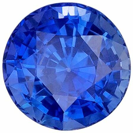 Very Desirable Blue Sapphire Genuine Loose Gemstone in Round Cut, 0.78 carats, Medium Rich Blue, 5.5 mm