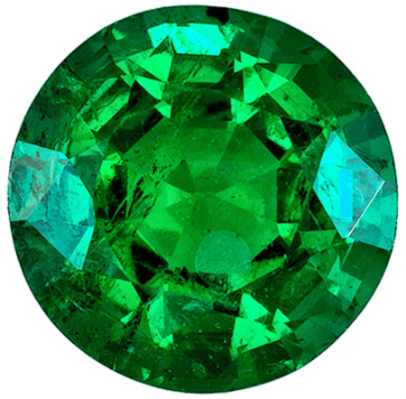 Highly Requested Emerald Natural Gem, 6.1 mm, Rich Green, Round Cut, 0.84 carats