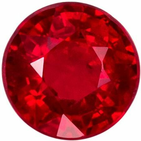 Bright & Lively Ruby Genuine Loose Gemstone in Round Cut, 0.88 carats, Open Rich Red, 5.3 mm