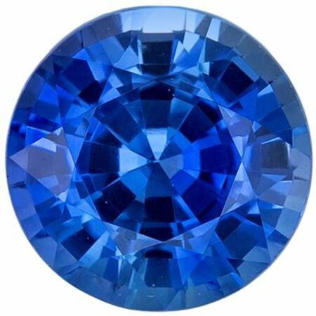 Bright & Lively Blue Sapphire Genuine Loose Gemstone in Round Cut, 0.91 carats, Medium Rich Blue, 5.5 mm