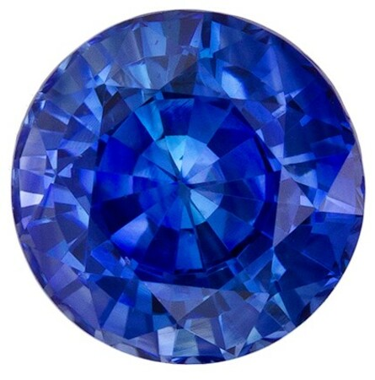 Stunning Blue Sapphire Loose Gem, 0.97 carats, Round Cut, 5.6 mm , High Quality - Low Cost Gem
