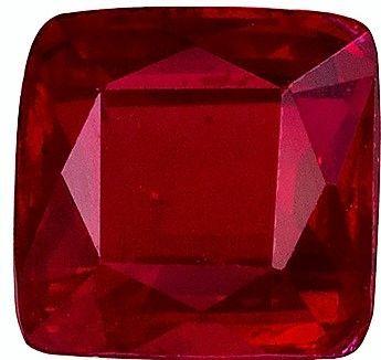 0.98 carat Ruby Square shaped gemstone, 5.3 x 5.2 mm
