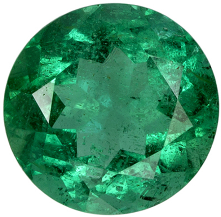 1.07 carats Emerald Loose Gemstone in Round Cut, Vivid Green, 6.6 mm