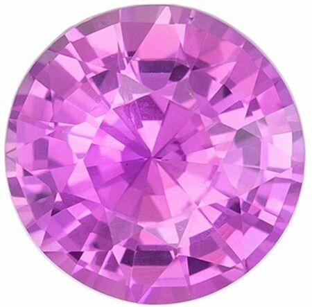 Lovely No Heat Purple Sapphire Genuine Loose Gemstone in Round Cut, 1.07 carats, Medium Magenta Purple, 6.09 x 6.19 mm - GIA Certificate