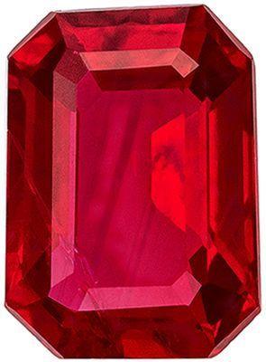 Wonderful Ruby Genuine Loose Gemstone in Emerald Cut, 1.07 carats, Pigeons Blood Red, 7 x 5.1 mm