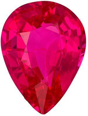 No Heat Ruby Genuine Loose Gemstone in Pear Cut, 1.07 carats, Vivid Medium Red, 6.6 x 5.4 mm