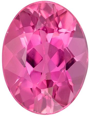 Great Genuine Loose Pink Tourmaline Gemstone in Oval Cut, 8 x 6.1 mm, Medium Pure Pink, 1.2 carats
