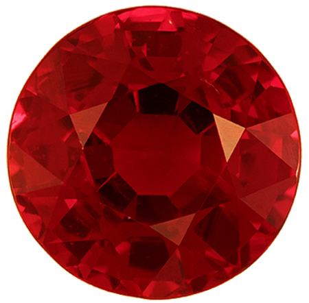 Highly Requested Ruby Genuine Gem, 6.1 mm, Vivid Rich Red, Round Cut, 1.24 carats