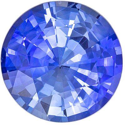 Excellent Sapphire Loose Gem, 7 mm, Medium Rich Blue, Round Cut, 1.33 carats