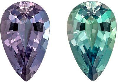 Fine Gubelin Certified Genuine Loose Alexandrite Gemstone in Pear Cut, 9.43 x 5.83 x 3.72 mm, Bluish Green to Purple, 1.42 carats