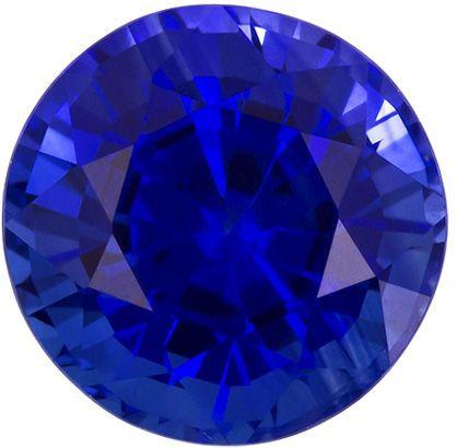 1.46 carats Blue Sapphire Loose Gemstone in Round Cut, Velvety Blue, 6.2 mm