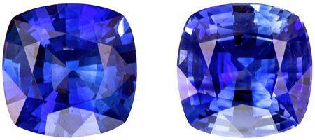 Genuine 1.53 carat Blue Sapphire Gemstones in Matched Pair Cushion Cut 5.5 mm