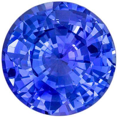 Beautiful Sapphire Genuine Gem, 1.53 carats, Medium Rich Blue, Round Cut, 6.8 mm