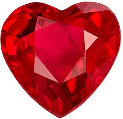 Fiery Genuine Loose Ruby Gemstone in Heart Cut, 6.9 x 6.6 mm, Open Rich Pigeon's Blood Red, 1.55 carats