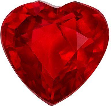 Wonderful Ruby Genuine Loose Gemstone in Heart Cut, 1.59 carats, Open Pigeons Blood Red, 6.9 x 6.8 mm