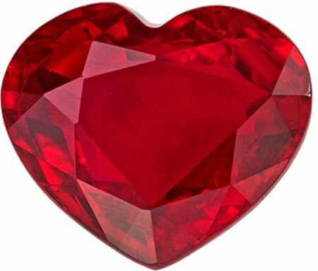 Rare Gorgeous Ruby Genuine Loose Gemstone in Heart Cut, 1.99 carats, Medium Rich Red, 6.92 x 8.12 mm - GIA Certificate