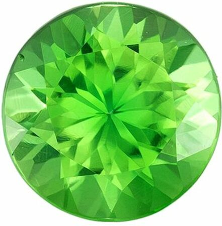 Bright & Lively Chrome Tourmaline Genuine Loose Gemstone in Round Cut, 1 carats, Medium Apple Green, 6.4 mm