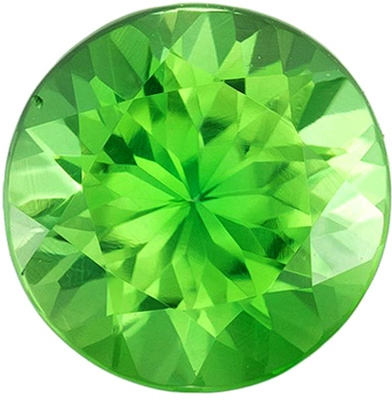 Bright & Lively Chrome Tourmaline Genuine Loose Gemstone in Round Cut, 1 carats, Medium Apple Green, 6.4 mm