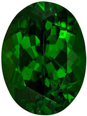 10.2 x 7.5 mm Chrome Tourmaline Genuine Gemstone in Oval Cut, Pure Rich Green, 2.62 carats