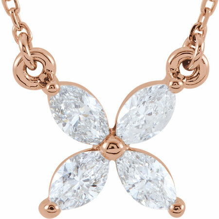 Diamond Necklace in 14 Karat Rose Gold 0.50 Carat Diamond 16