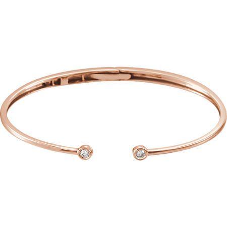 14 Karat Rose Gold 0.17 Carat Diamond Hinged Cuff Bracelet