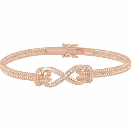 14 Karat Rose Gold 0.12 Carat Diamond Bangle 7.5