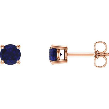 Shop 14 Karat Rose Gold 5mm Round Genuine Chatham Blue Sapphire Earrings