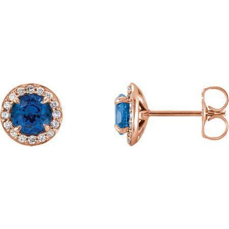 14 Karat Rose Gold 5mm Round Genuine Chatham Sapphire & 0.17 Carat Diamond Earrings