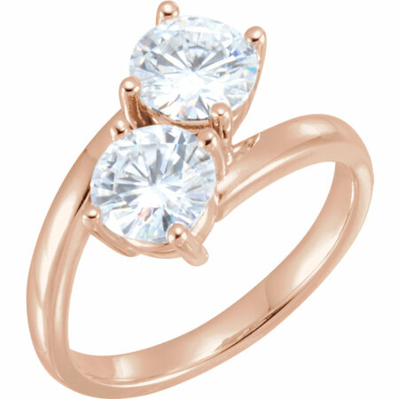 Created Moissanite Ring in 14 Karat Rose Gold 6mm Round Charles Colvard Forever One Moissanite Ring