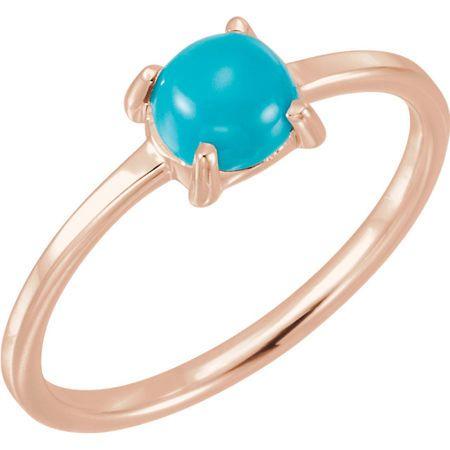 Genuine Turquoise Ring in 14 Karat Rose Gold 6mm Round Turquoise Cabochon Ring