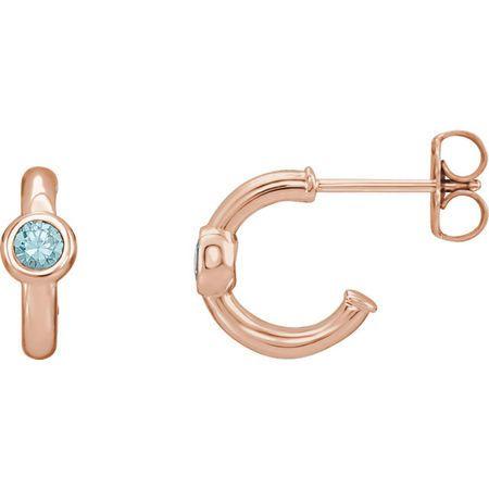14 Karat Rose Gold Blue Zircon J-Hoop Earrings