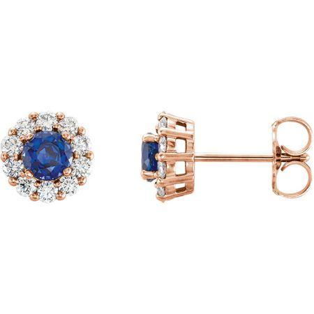 Buy 14 Karat Rose Gold Genuine Chatham Blue Sapphire & 0.40 Carat Diamond Halo-Style Earrings