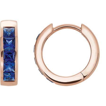 14 Karat Rose Gold Genuine Chatham Blue Sapphire Hoop Earrings