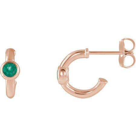 14 Karat Rose Gold Emerald J-Hoop Earrings