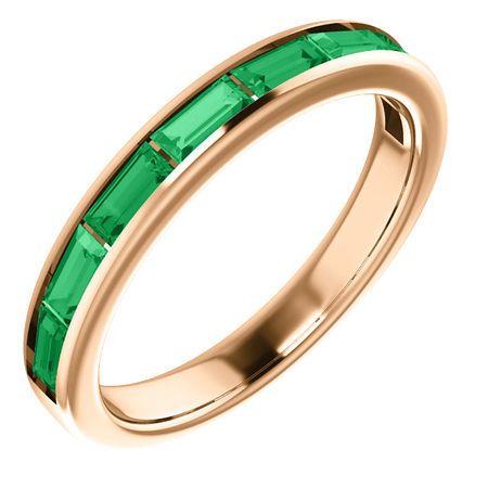 14 Karat Rose Gold Emerald Ring