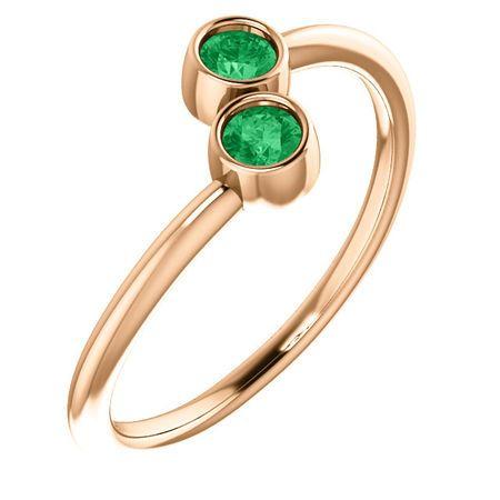 Genuine Emerald Ring in 14 Karat Rose Gold EmeraldTwo-Stone Ring
