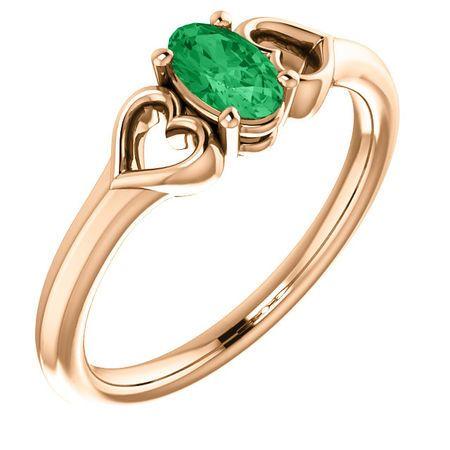 14 Karat Rose Gold Emerald Youth Heart Ring