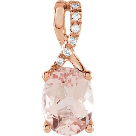Genuine 14 Karat Rose Gold Morganite & .03 Carat Diamond Pendant