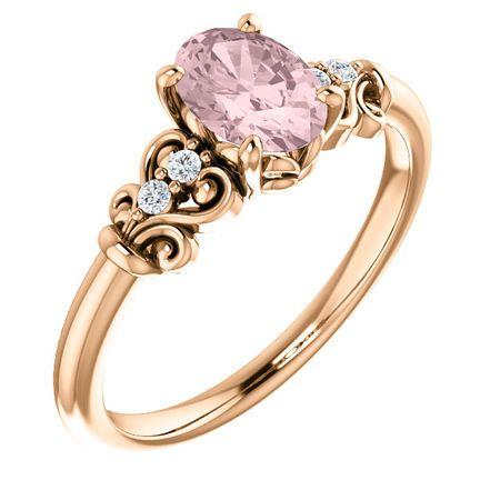 14 Karat Rose Gold Morganite & .04 Carat Diamond Ring