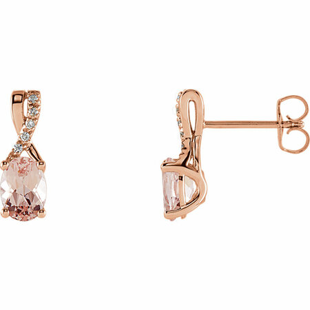Shop 14 Karat Rose Gold Morganite & .05 Carat Diamond Earrings