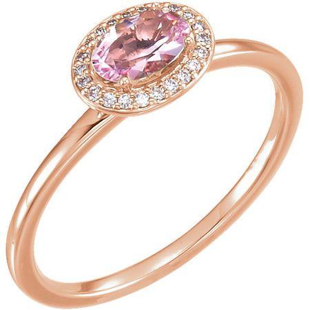 Genuine 14 Karat Rose Gold Morganite & .07 Carat Diamond Ring