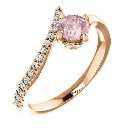 Buy 14 Karat Rose Gold Morganite & 0.10 Carat Diamond Bypass Ring