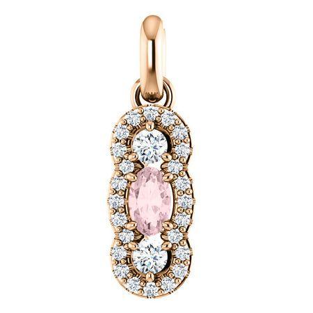 14 Karat Rose Gold Morganite & 0.25 Carat Diamond Pendant