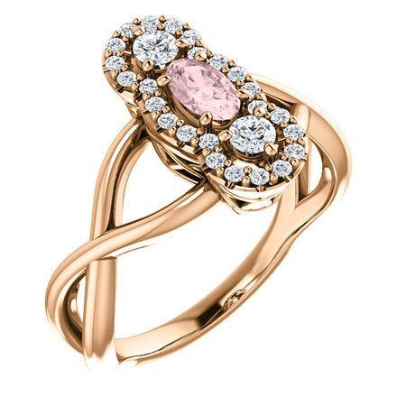Buy 14 Karat Rose Gold Morganite & 0.25 Carat Diamond Ring