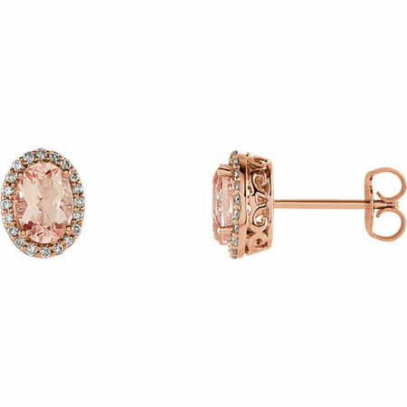 Shop 14 Karat Rose Gold Morganite & 0.20 Carat Diamond Earrings