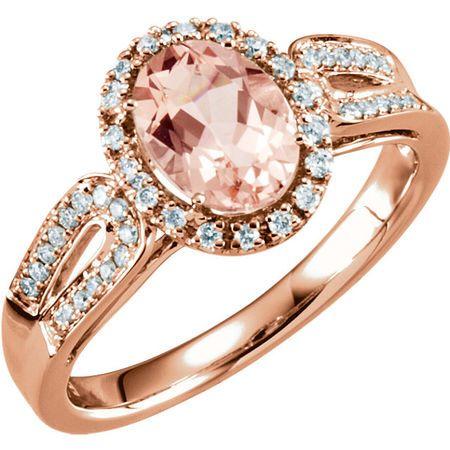 Genuine 14 Karat Rose Gold Morganite & 0.20 Carat Diamond Ring