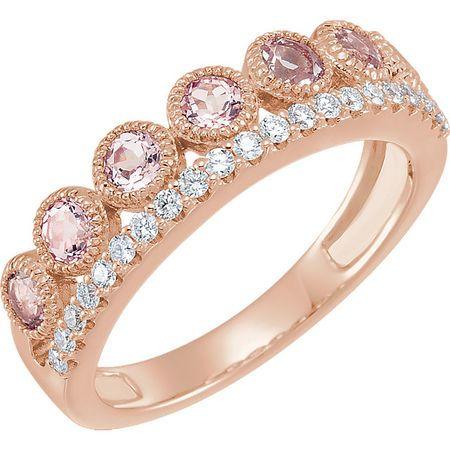 Buy 14 Karat Rose Gold Morganite & 0.20 Carat Diamond Ring