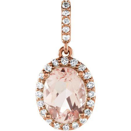 14 Karat Rose Gold Morganite & 0.17 Carat Diamond Pendant