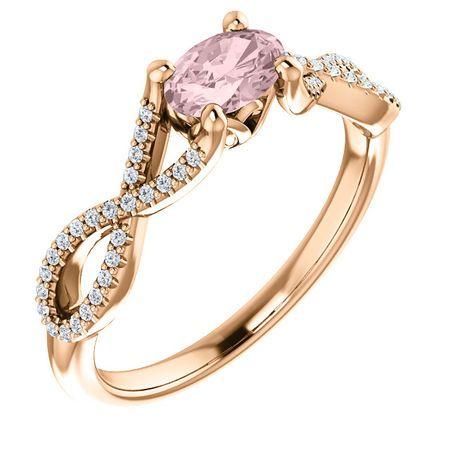 Genuine  14 Karat Rose Gold Morganite & 0.12 Carat Diamond Ring